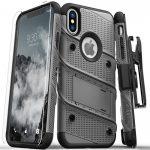 Zizo Bolt Cover iPhone X/Xs ütésálló hátlap, tok és edzett üvegfólia, metálszürke-fekete